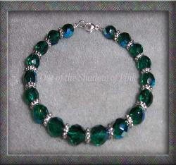 Czech Emerald Fire Polished Glass Bracelet  (click to enlarge)