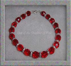 Czech Ruby Fire Polished Glass Bracelet  (click to enlarge)